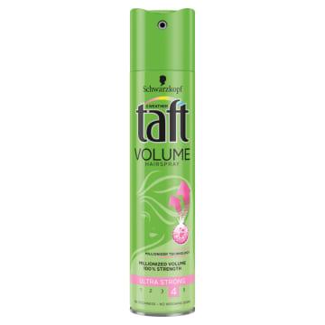 Lakier do włosów Ultra Strong Volume - Taft skutecznie utrwala uczesanie i nadaje włosom objętości.
