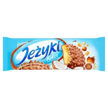 Jeżyki – Jutrzenka to doskonale znane i lubiane ciasteczka w czekoladowej polewie z dodatkami.