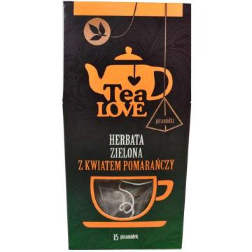TEA LOVE Herbata zielona z kwiatem pomarańczy - piramidki 15 szt. 30g