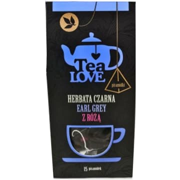 TEA LOVE Herbata czarna earl grey z różą - piramidki 15 szt. 37g