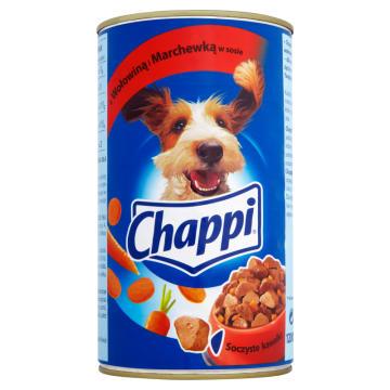 Pokarm dla psów z wołowiną i marchewką w sosie CHAPPI. Smaczny i zdrowy posiłek dla Twojego czworonoga