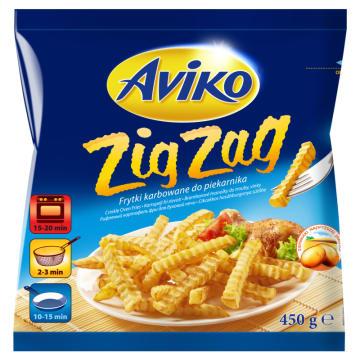 Mrożone frytki karbowane - Aviko Zig Zag. Szybka, pyszna przekąska.
