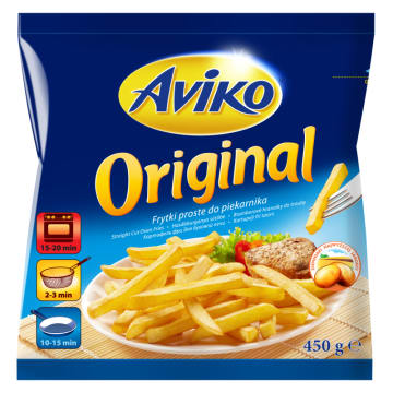 Frytki proste mrożone Original - Aviko. Frytki klasyczne proste do szybkiego przygotowania w domu.