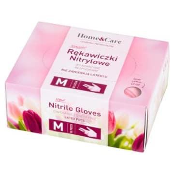 HOME&CARE Rękawiczki nitrylowe damskie różowe M 50 szt. 1szt