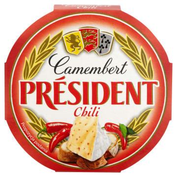 President - ser Camembert z chilli,120 g. Okrągły i lekko pikantny.
