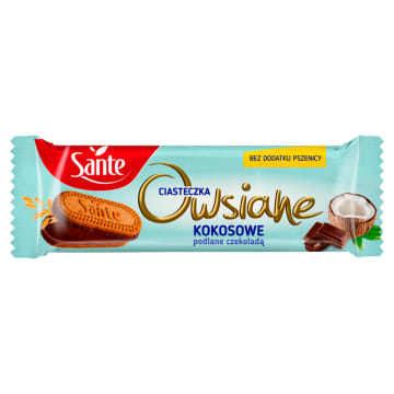 Sante - Ciasteczka owsiane o smaku kokosowo-czekoladowym - zdrowa przekąska dla łasucha