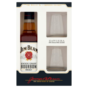 JIM BEAM White Bourbon Whiskey + 2 szklanki 700ml
