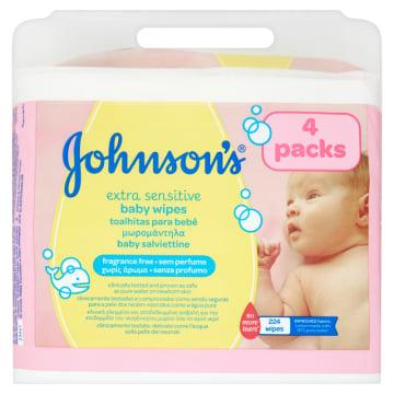 JOHNSONS® Extra Sensitive Chusteczki  łagodne oczyszczające dla niemowląt 224 szt. 1szt
