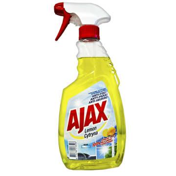 Ajax-Płyn do mycia szyb Lemon. Czyści i zabezpiecza powierzchnię.