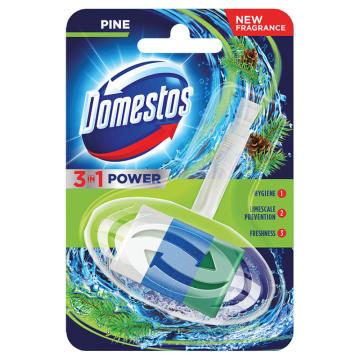 Domestos 3in1 - Kostka toaletowa Pine w koszyczku. Gwarancja świeżej i czystej toalety.