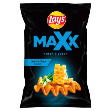 LAYS Maxx Mocno Pogięte Chipsy ziemniaczane Ser & Zielona cebulka 140g
