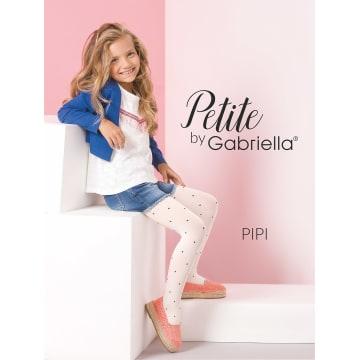 GABRIELLA Rajstopy dziecięce Pipi, rozmiar 2, kolor Bianco-Ink 1szt
