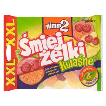 Żelki kwaśne XXL - Nimm2. Słodka przekąska z sokiem owocowym.