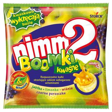 Kwaśne kulki strzelające sokiem - Nimm2 Boomki. Przekąska dla smakoszy słodyczy.