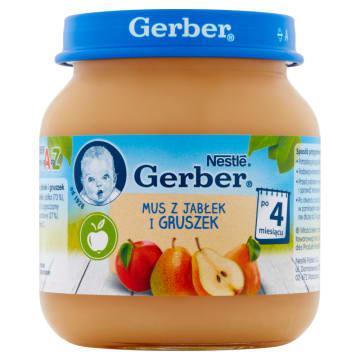 Gerber – Deserek Mus z jabłek i gruszek po 4. miesiącu łączy smak i wysokiej jakości składniki.