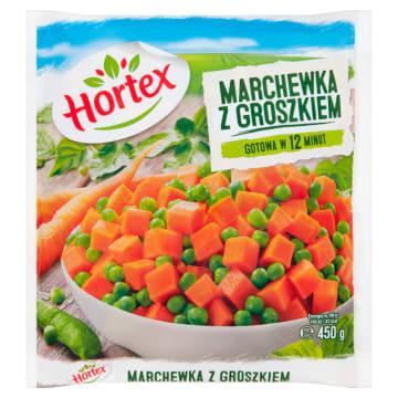 Mrożona marchew z groszkiem – Hortex. Źródło potrzebnych witamin pochodzących z barwnych warzyw.