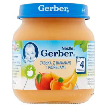 Gerber Deserek - Jabłka z morelami i bananami 130g. Doskonały posiłek dla najmłodszych.
