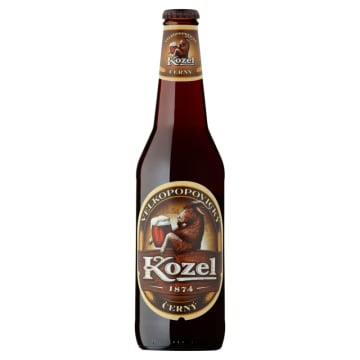 Piwo ciemne w butelce - Kozel. Intensywny, słodkawy smak i ciemna barwa.