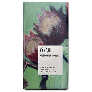 Czekolada mleczna z orzechami – Vivani. Składa się z produktów wyłącznie ekologicznych.