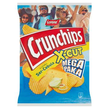 Chipsy Ser i Cebula - Lorenz Crunchips X-Cut. Przekąska na wieczorne spotkania ze znajomymi.