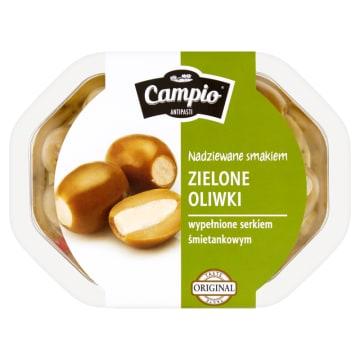 Zielone oliwki nadziewane serem - Campio. Oliwki nadziewane serem w aromatycznej zalewie.