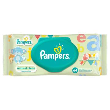 Chusteczki pielęgnacyjne Pampers Naturally Clean to bezzapachowe, bezpieczne oczyszczanie.