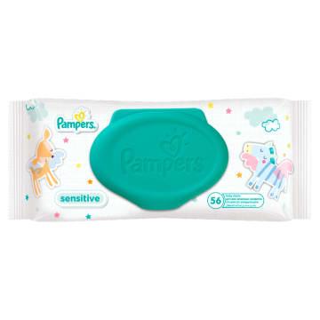 Chusteczki nawilżane-Pampers Sensitive 56 szt. Jeszcze delikatniejsze i skuteczniejsze oczyszczanie.