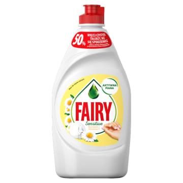 Płyn do mycia naczyń Sensitive - Fairy. Bezpieczny dla wrażliwej skóry płyn rumiankowy do naczyń.