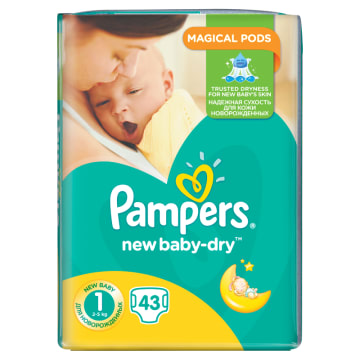 Pieluchy rozm. 1 - Pampers New Baby zapewniają uczucie suchości nawet na 12 godzin.