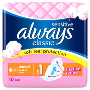 Podpaski - Always Classic Normal Sensitive. Zapewniają uczucie komfortu i suchości.