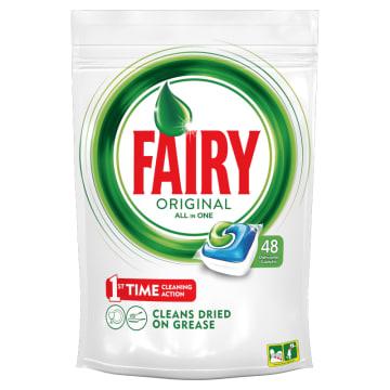 Kapsułki do zmywarek All in one – Fairy to czystość, delikatność i blask przy każdym zmwywaniu.