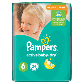 Pieluchy rozmiar 6 - Pampers Active Baby. 12 godzin suchości dla każdego dziecka.