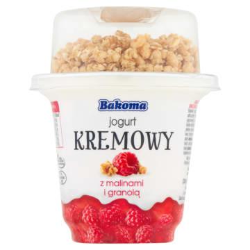 BAKOMA Jogurt kremowy z malinami i granolą 300g