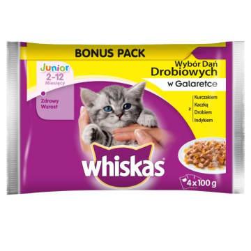 WHISKAS JUNIOR Pokarm dla Kotów - Wybór Dań Drobiowych w Galaretce (4 saszetki) 400g