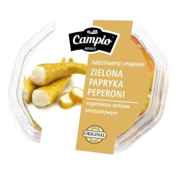 Zielone pepperoni nadziewane serkiem 250g - CAMPIO. Połączenie ostrego smaku i delikatności.