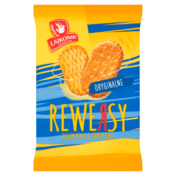 Lajkonik Rewersy - krakersy 95 g. Na bazie sekretnej receptury, wypiekane w piecu.