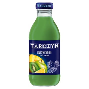 Tarczyn- Napój multiwitamina zielone owoce w poręcznej, szklanej butelce.