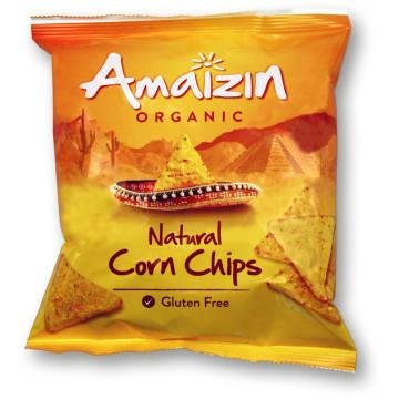 Chipsy kukurydziane solone Bio - Amaizin to propozycja dla amatorów wyszukanych przekąsek.