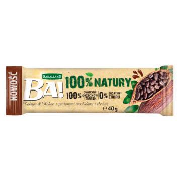 BAKALLAND BA! Baton owocowy daktyle & kakao z prażonymi arachidami i zbożem 40g