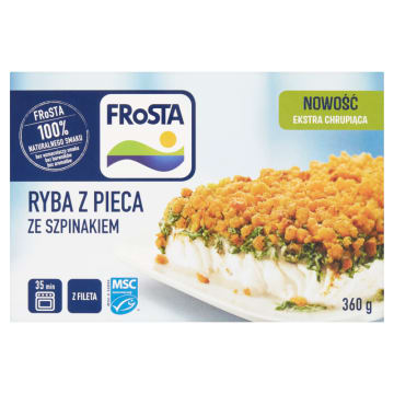 Frosta - Ryba z pieca ze szpinakiem mrożona. Soczysty filet z mintaja, zapiekany ze szpinakiem i śmietaną.