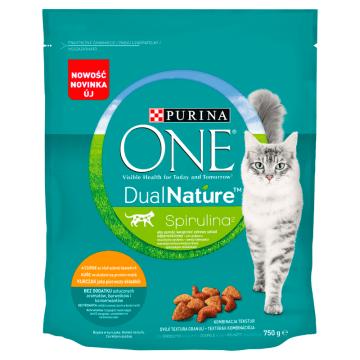 PURINA ONE Dual Nature Spirulina Pełnoporcjowa karma dla dorosłych kotów bogata w kurczaka 750g