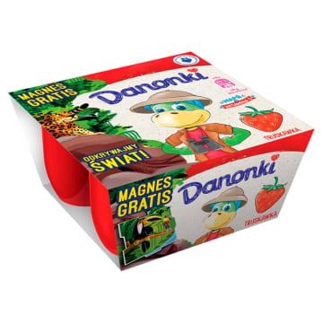 DANONE - serek o smaku truskawkowym.Aksamitny i słodki deser