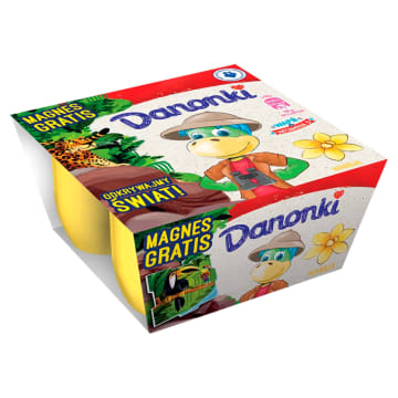 Danone Danonki Serek o smaku waniliowym to kremowy deser dla dzieci wzbogacony w wit. D.
