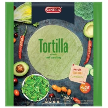 SANDRA Tortilla szpinakowa 25cm (4 szt) 240g