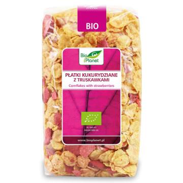 BIO PLANET Płatki kukurydziane z truskawkami BIO 250g