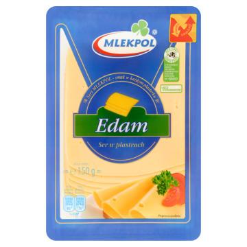 Ser Edamski w plastrach - MLEKPOL. Wygodny w użyciu, gotowy, pokrojnony ser.