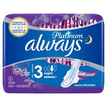 ALWAYS PLATINUM 3Ultra Night Podpaski ze skrzydełkami x 6 1szt