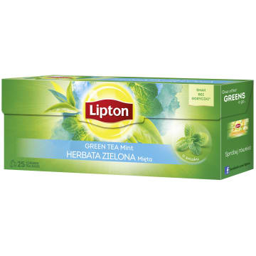 LIPTON Herbata zielona aromatyzowana Mięta 25 torebek 32g