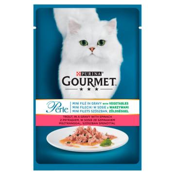 Pokarm dla kotów pstrąg, szpinak 85g - Gourmet Perle. Odżywczy posiłek dla czworonogów.