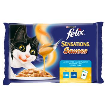 FELIX® Sensations Karma dla kotów z łososiem morskim i sardynkami 4x100g 400g